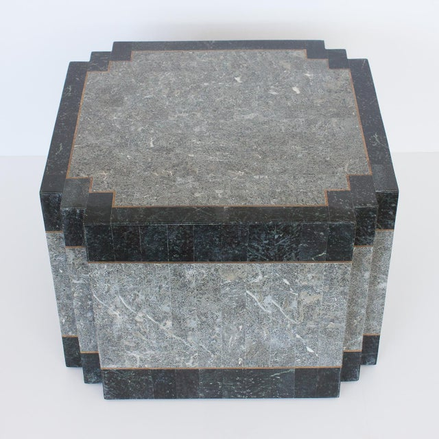 Maitland - Smith 1980's Maitland Smith Tessellated Stone & Brass Side Table For Sale - Image 4 of 9
