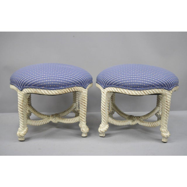 Italian Hollywood Regency white rope and knot carved wood pair of stools in the Napoleon III style. Item features round...