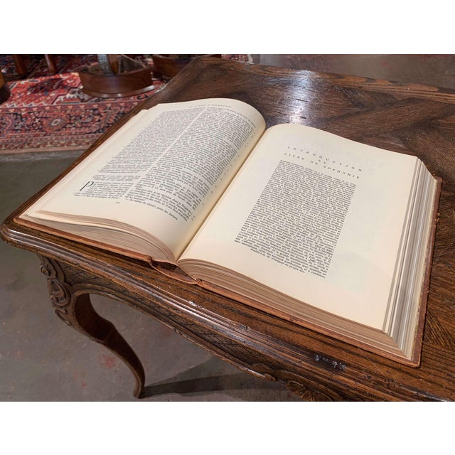 Mid-Century French Leather Bound Two-Volume Holy Bible Dated 1953 - Set of 2 For Sale - Image 11 of 13