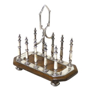 Antique Sheffield Silverplate & Oak Toast Rack For Sale