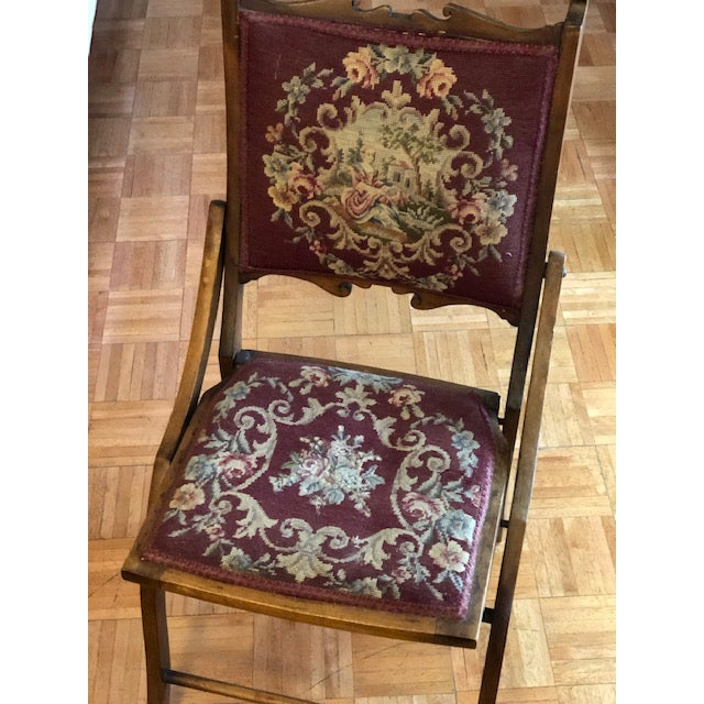 Traditional 1900s Antique Victorian Tapestry Folding Chair For Sale - Image 3 of 13