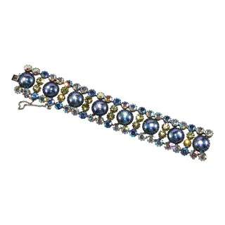 Vendome Bracelet Iridescent Rhinestones Blue Cabochons For Sale