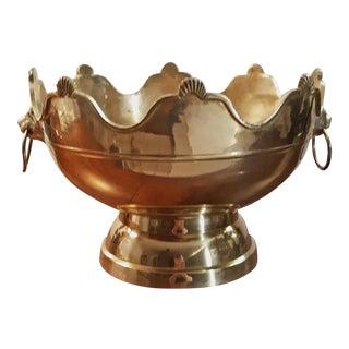 Mid 20th Century Solid Brass Lion's Head Centerpiece Pedestal Bowl For Sale