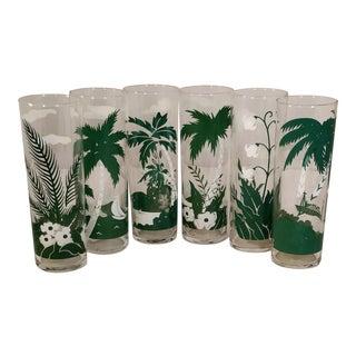 Vintage Island Palm Tree Green & White Tiki Barware Glasses - Set of 6 For Sale