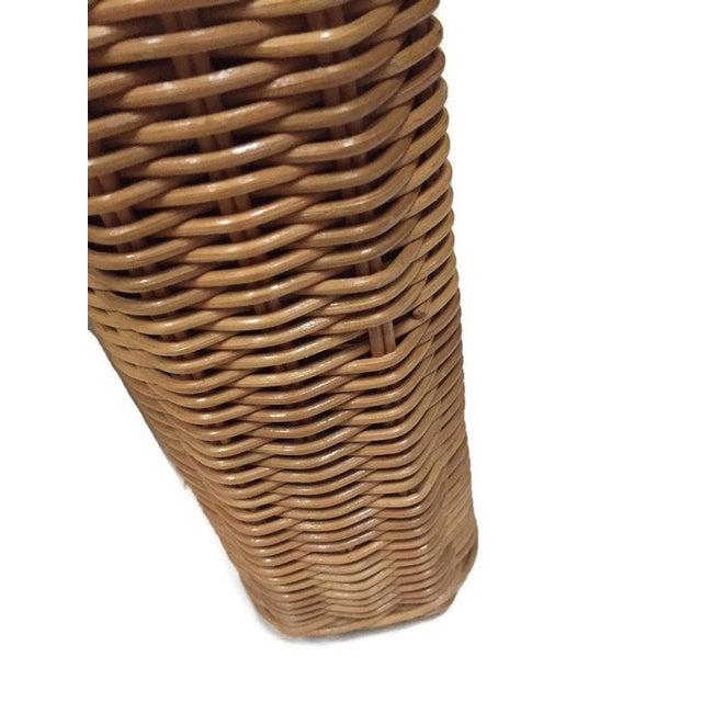 Wicker Vintage Wicker Footstool Rattan Ottoman For Sale - Image 7 of 12
