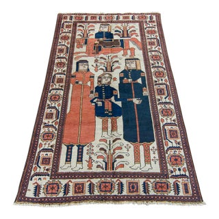 1920s Vintage Armenian Baluch Pictorial Handwoven Wool Rug - 3′10″ × 6′4″ For Sale