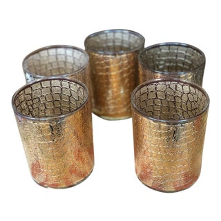 Culver Ltd. Double Old Fashioned Reptile Skin Glasses - Set of 5