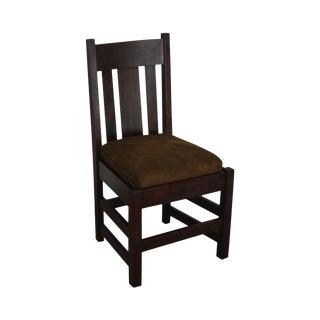 Antique Mission Oak Mahogany Side Chair For Sale