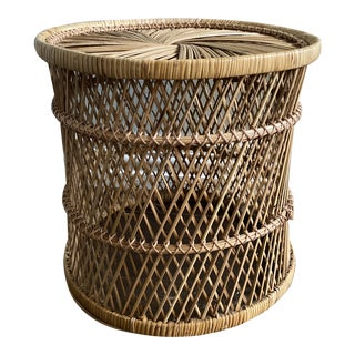 Vintage Rattan Wicker Plant Stand For Sale