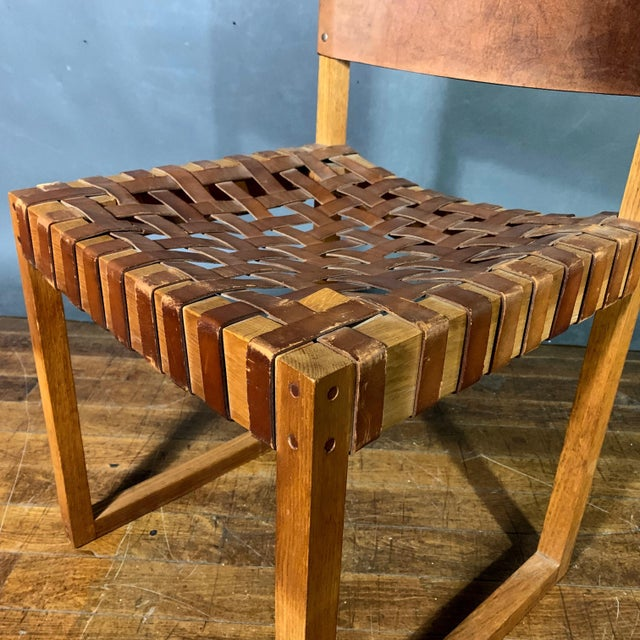 Brown Set of Six Danish 1970 Woven Leather & Oak Dining Chairs For Sale - Image 8 of 11