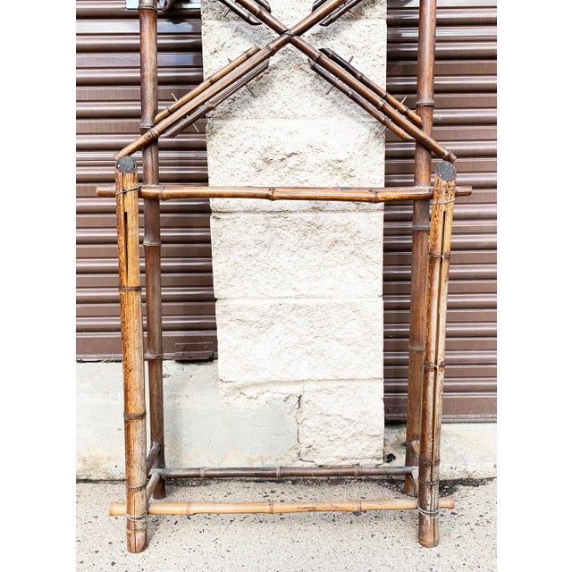 Brown Antique French Bamboo Hall Tree With Diamond Mirror For Sale - Image 8 of 12