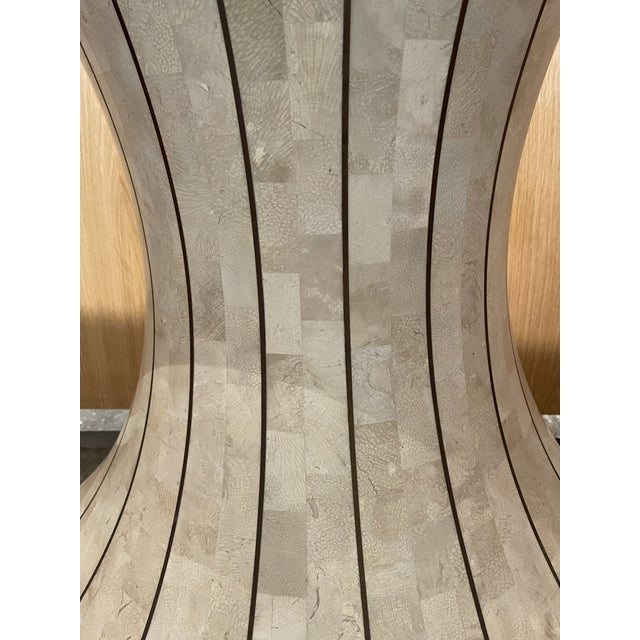Metal Maitland Smith Tessellated Travertine Demilune Table With Brass Inlay For Sale - Image 7 of 13