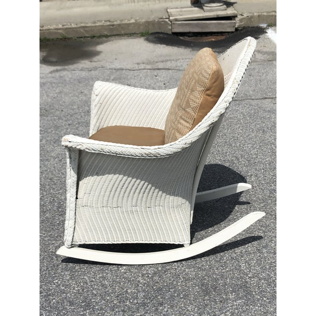 Vintage Heywood Wakefield Wicker Rocker With Hermes Leather Pillow For Sale - Image 10 of 13