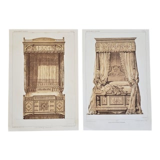 Pair-1878 French Lithographs-Renaissance Furnishings-Beds For Sale