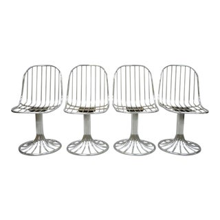 Mid Century Modern Italian Chrome Swivel Dining Chairs- Set of 4 For Sale