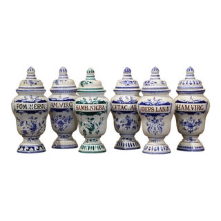 Mid-20th Century Italian Blue and White Ceramic Apothecary Jars, Set of Six For Sale