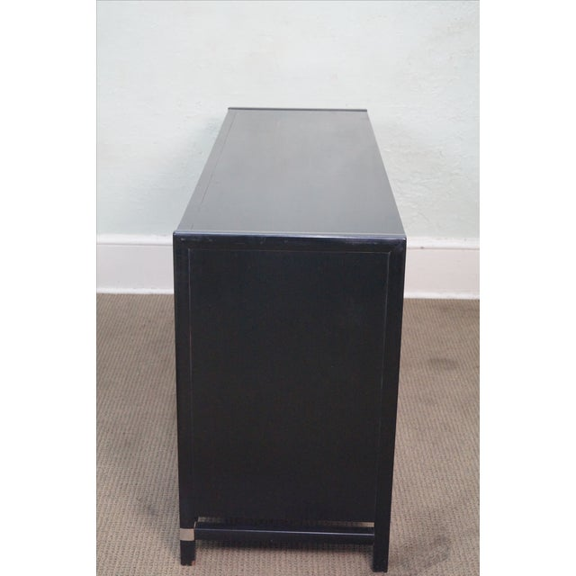 Asian Tung Si Collection Ebonized Black & Teak Dresser For Sale - Image 3 of 10
