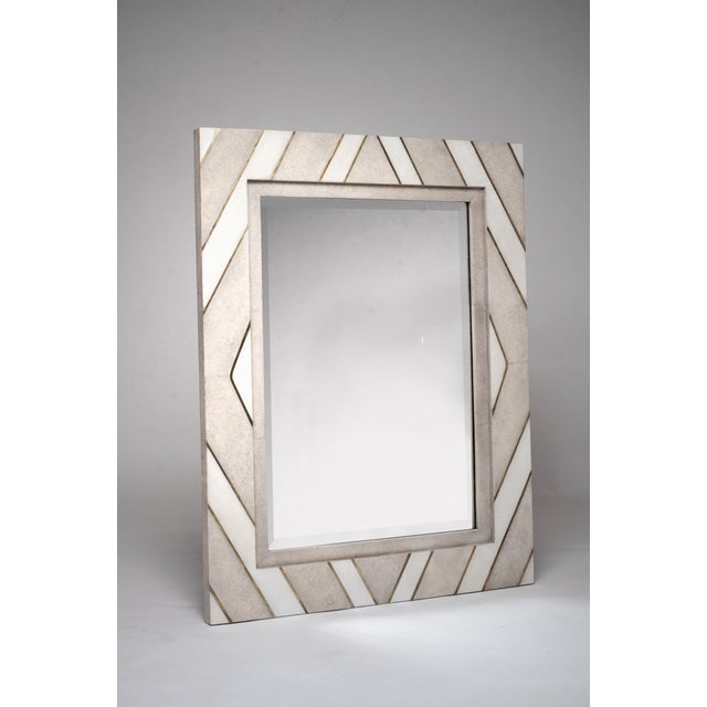 Art Deco Geometric Mirror in Shagreen, Shell and Bronze-Patina Brass by Kifu Paris For Sale - Image 3 of 6