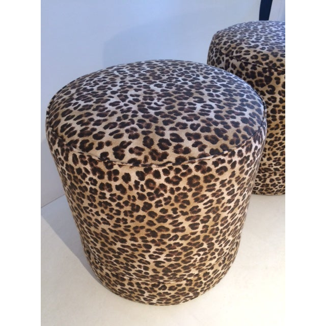 Todd Hase Namesake Leopard Print Ruth Drum Ottomans- A Pair For Sale - Image 9 of 13