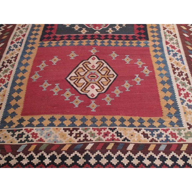 Tribal Antique Qashqai Kilim For Sale - Image 3 of 7