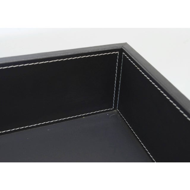 2010s Black Leather and Stainless Steel Tray Table by Fabio Ltd For Sale - Image 5 of 7