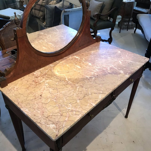 Beautiful walnut French Louis XVI Style Marble Top Dressing Table with two drawers, bronze adornments and key. H desk top...