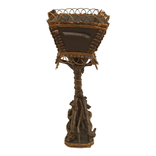 19th Century Rustic Continental Twig and Root Rectangular Top Fernery For Sale