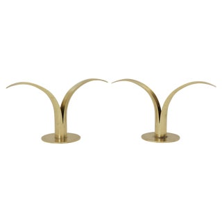 Swedish Ystad Brass Candleholders For Sale