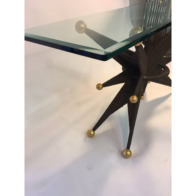 SPECTACULAR ITALIAN BRUTALIST STARBURST AND GOLD BALL RESIN CONSOLE TABLE For Sale - Image 9 of 10