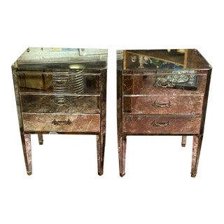 Pair of Vintage 1970s Gold Flecked Mirror End Tables For Sale