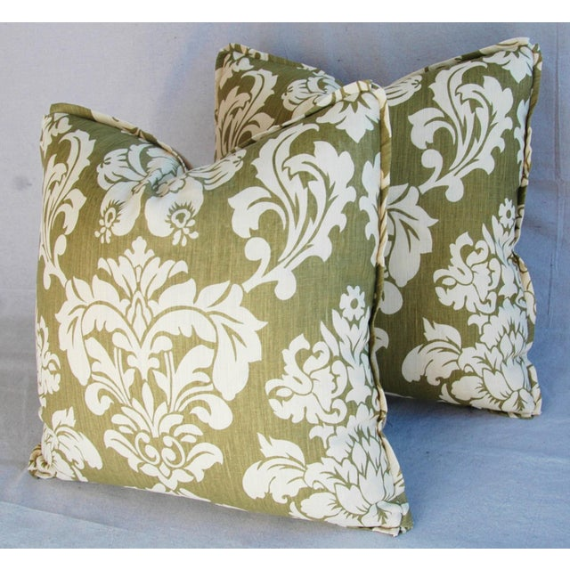 "Green 21"" Designer Brule Fabric Randall Damask Feather/Down Pillows - Pair For Sale - Image 8 of 11"