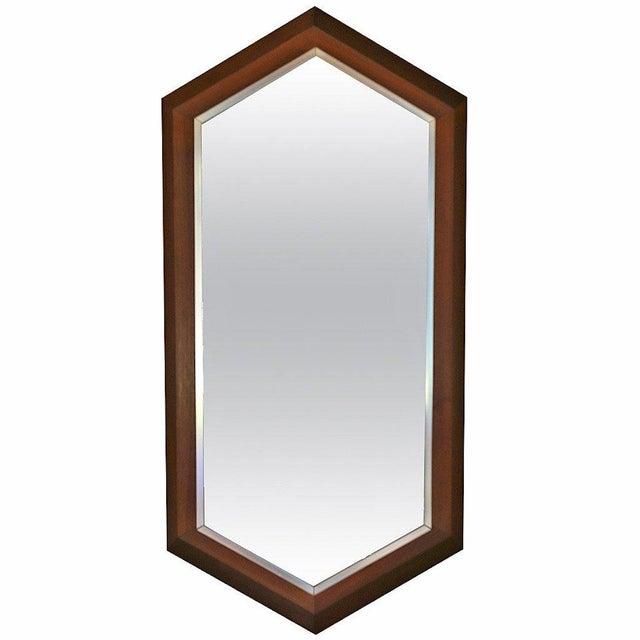 Silver Walnut Framed Mirror by Arthur Umanoff for Howard Miller C.1965 For Sale - Image 8 of 8