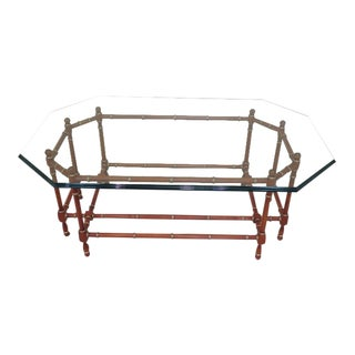 Baker Bamboo Style Base Glass Top Coffee Table For Sale