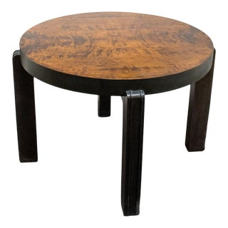 Round Art Deco Coffee or Side Table in Dark Flame Birch For Sale