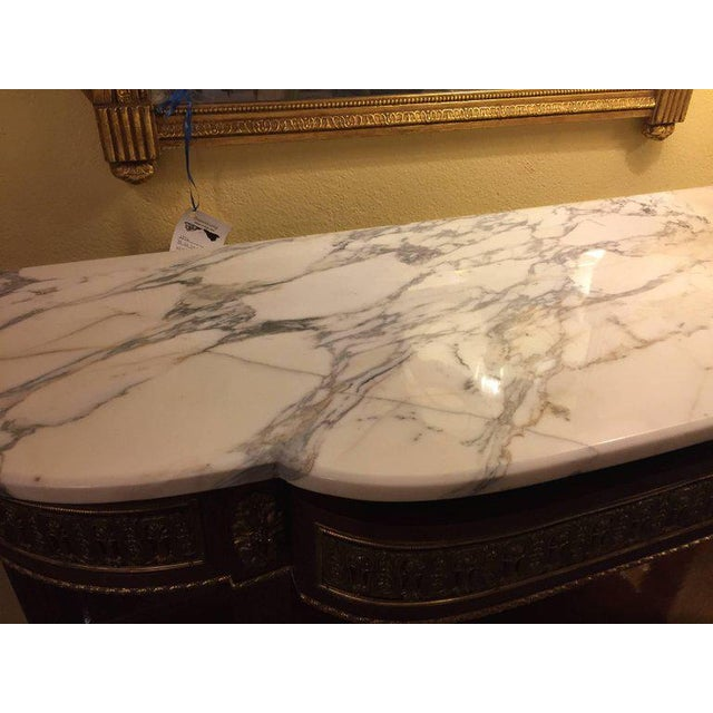 Jansen Style Marble-Top Bronze Mounted Consoles - a Pair For Sale - Image 10 of 11
