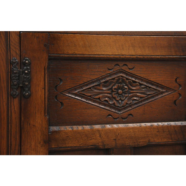 Green Antique Carved Oak English Server For Sale - Image 8 of 9