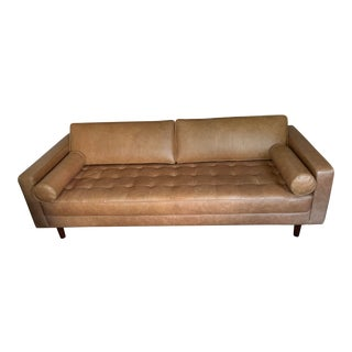 Mid Century Modern Leather Sofa For Sale