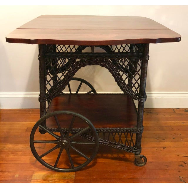 Traditional 1890's Victorian Heywood Wakefield Wood Drop Leaf Tea Cart For Sale - Image 3 of 11