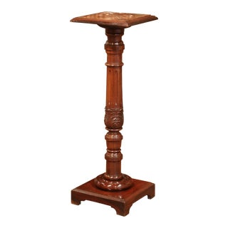 19th Century French Carved Mahogany Pedestal With Red Marble Top For Sale