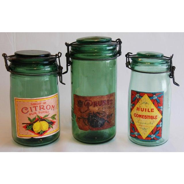 1930s Vintage French Labeled & Lidded Canning Preserve Jars - Set of 3 - Image 2 of 8