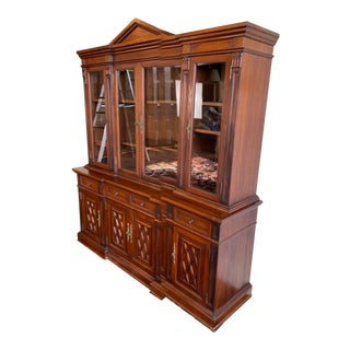 Neoclassical Rosewood Breakfront Display Cabinet For Sale