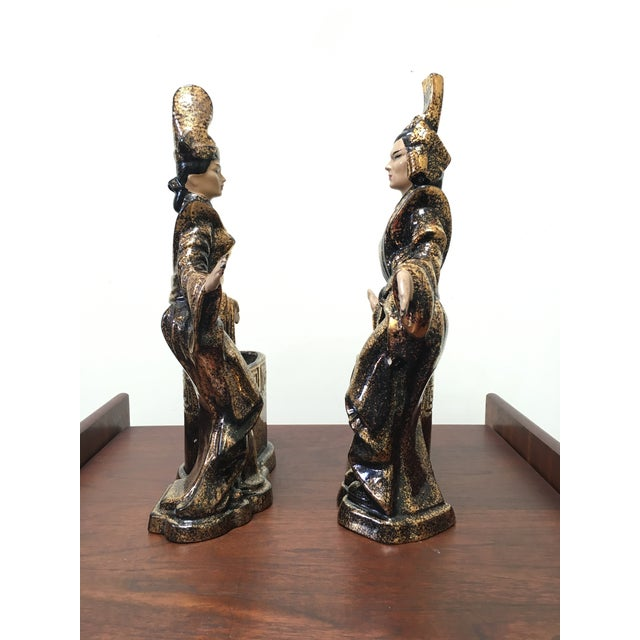 Asian Gilner Asian Antique Black and Gold Figurine Planters - a Pair For Sale - Image 3 of 10