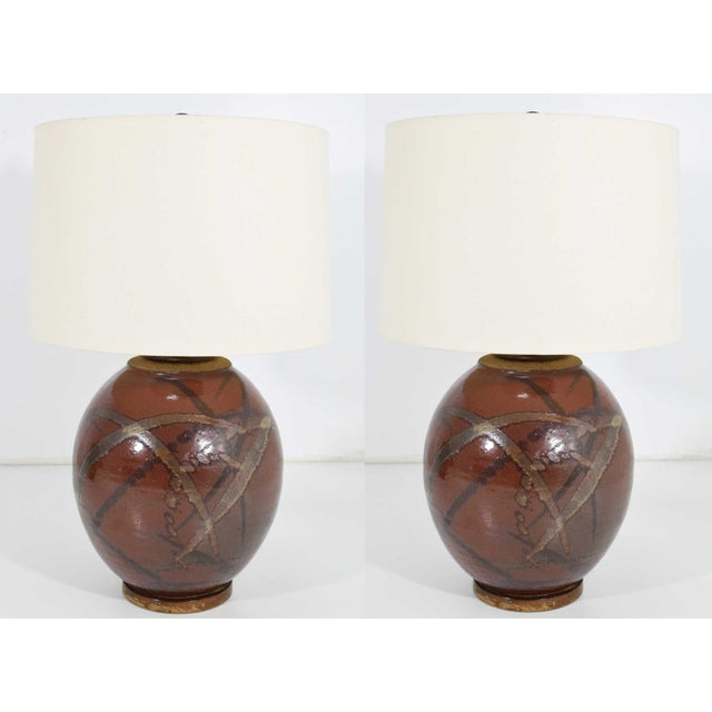 Brent Bennett Ceramic Glaze Table Lamps - a Pair For Sale - Image 11 of 11