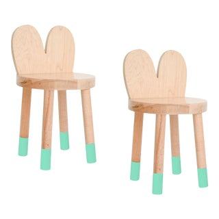 Nico & Yeye Lola Kids Chair Solid Maple and Maple Veneers Mint - Set of 2 For Sale