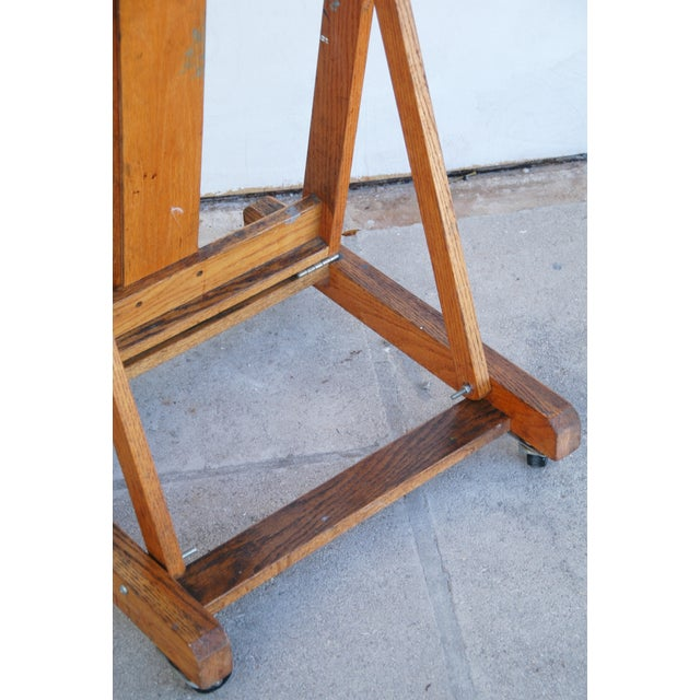 Vintage Adjustable Oak Artist's Easel - Image 8 of 11
