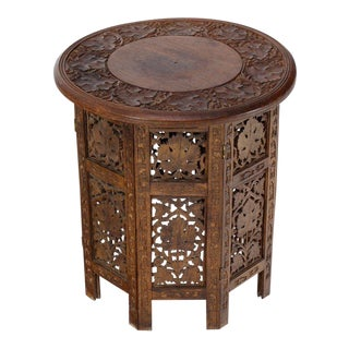 Pierced Carving Folding Round Side Occasional Table For Sale