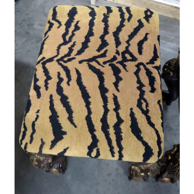 Georgian Style Tiger Print Upholstered Benches - a Pair For Sale - Image 4 of 6