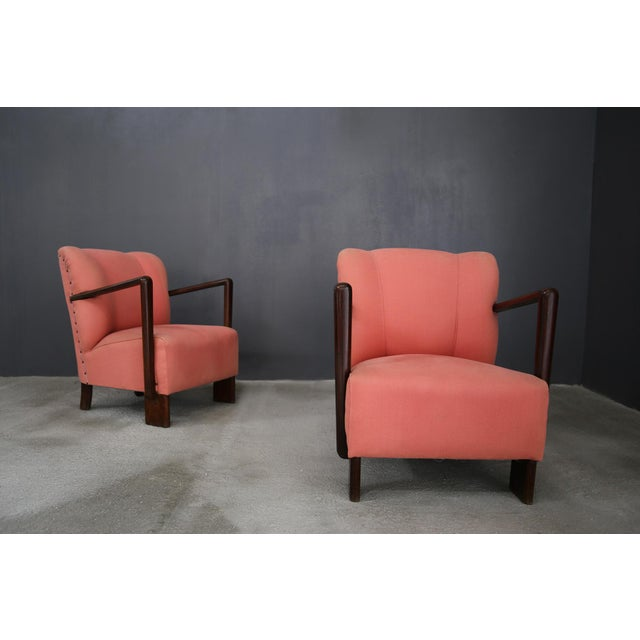 pair of 50s armchairs by Melchiorre Bega. The armchairs are in original fabric in perfect condition. The structure is in...