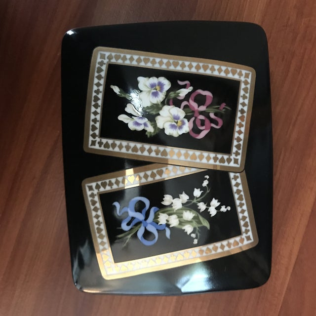 Vintage Sybil Connolly Tiffany & Co Ceramic Floral Playing Card Holder Case For Sale In Saint Louis - Image 6 of 11