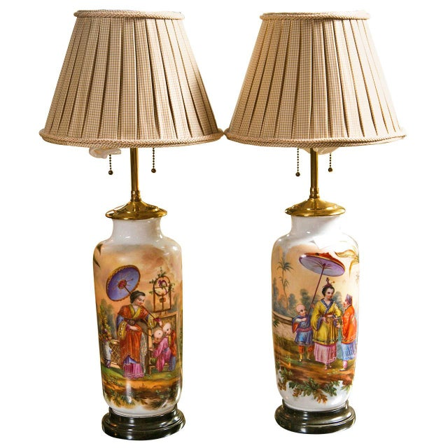 19 C. French Chinoiserie Porcelain Lamps - Pair For Sale